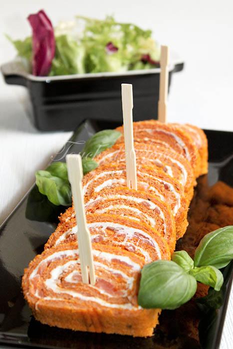Roulé tomate saumon fromage frais