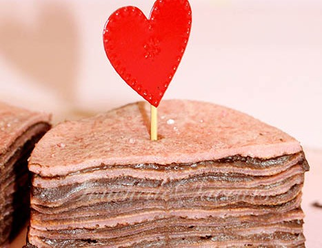 Millefeuille crêpes roses chocolat1
