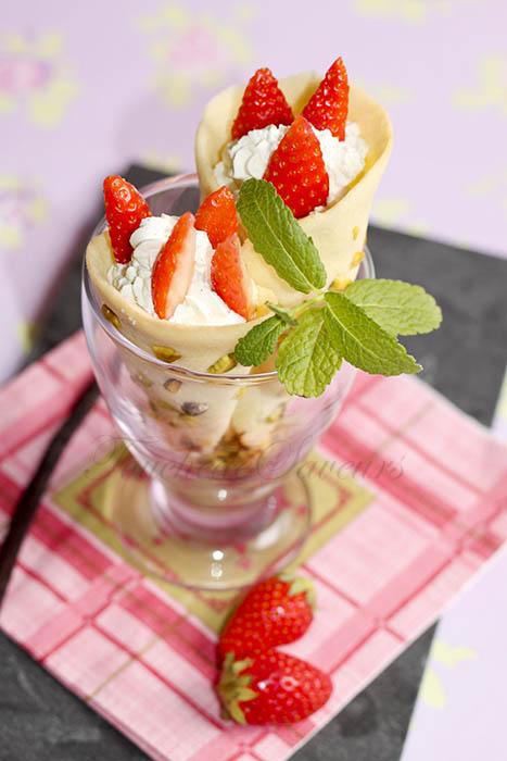 Cornets pistache fraise chantilly mascarpone