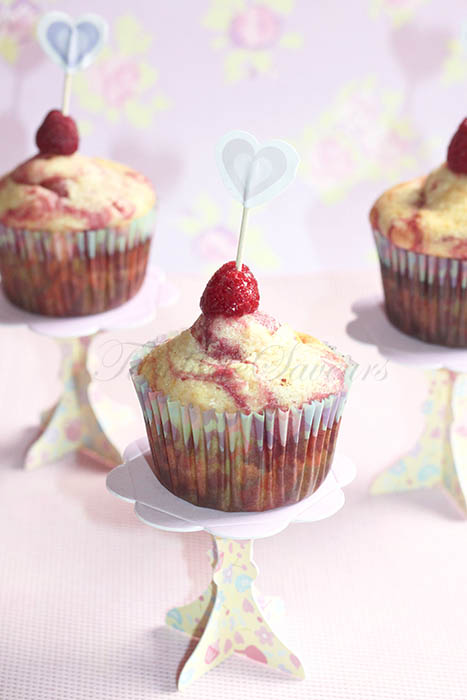 Muffins marbrés framboise