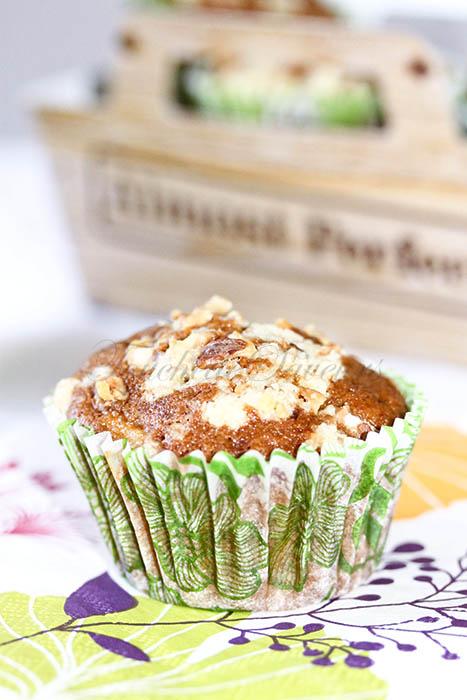 Muffins pomme érable crumble noix