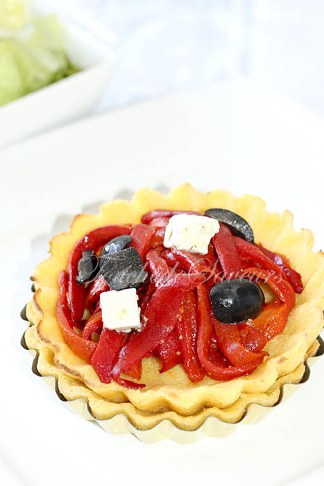 Polenta'tarte poivron olives fêta