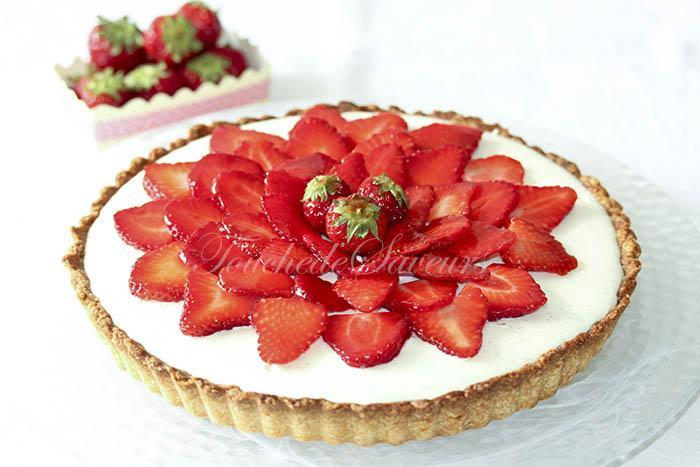 Tarte fraises mousse chocolat blanc