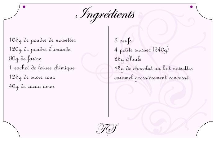Moelleux chocolat noisette caramel