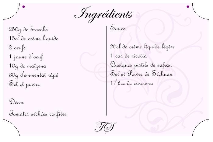 Coeur au brocolis et sauce crémeuse au safran
