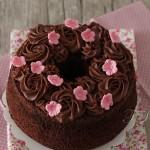 Chiffon cake chocolat ganache chocolat lait