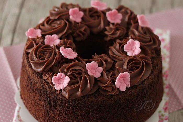 Chiffon cake chocolat ganache chocolat lait1