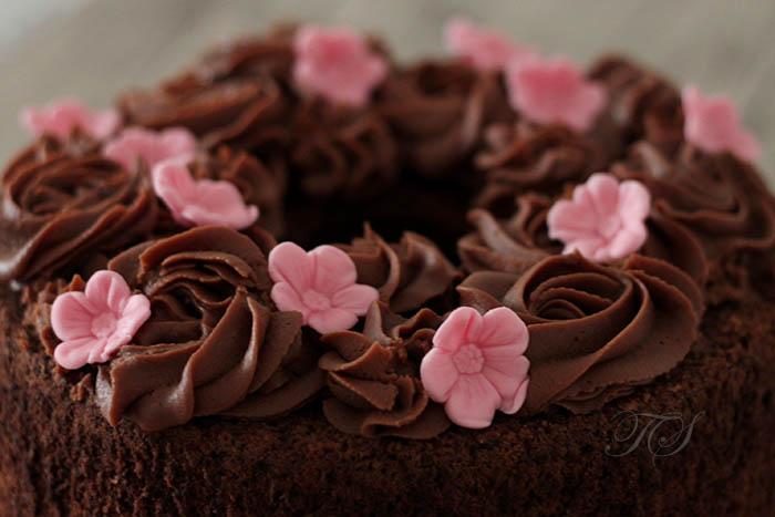 Chiffon cake chocolat ganache chocolat lait3