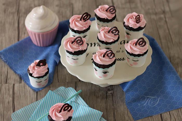 Cupcakes chocolat chantilly rose mascarpone