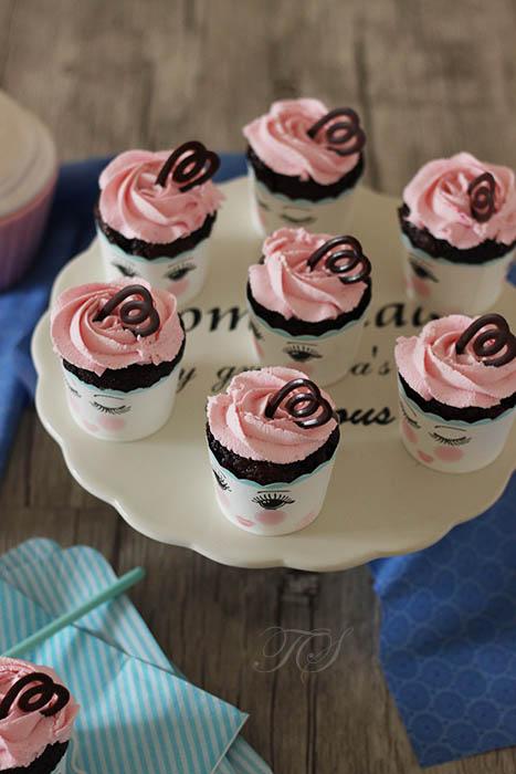 Cupcakes chocolat chantilly rose mascarpone1