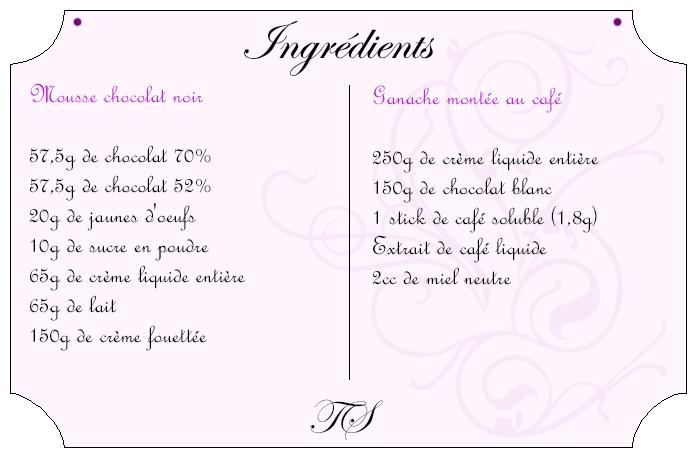 Verrine mousse chocolat ganache montée café