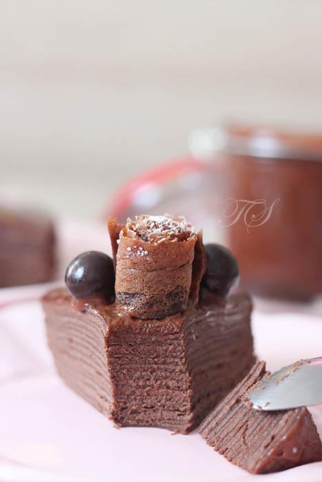 Gâteau de crêpes tout chocolat5